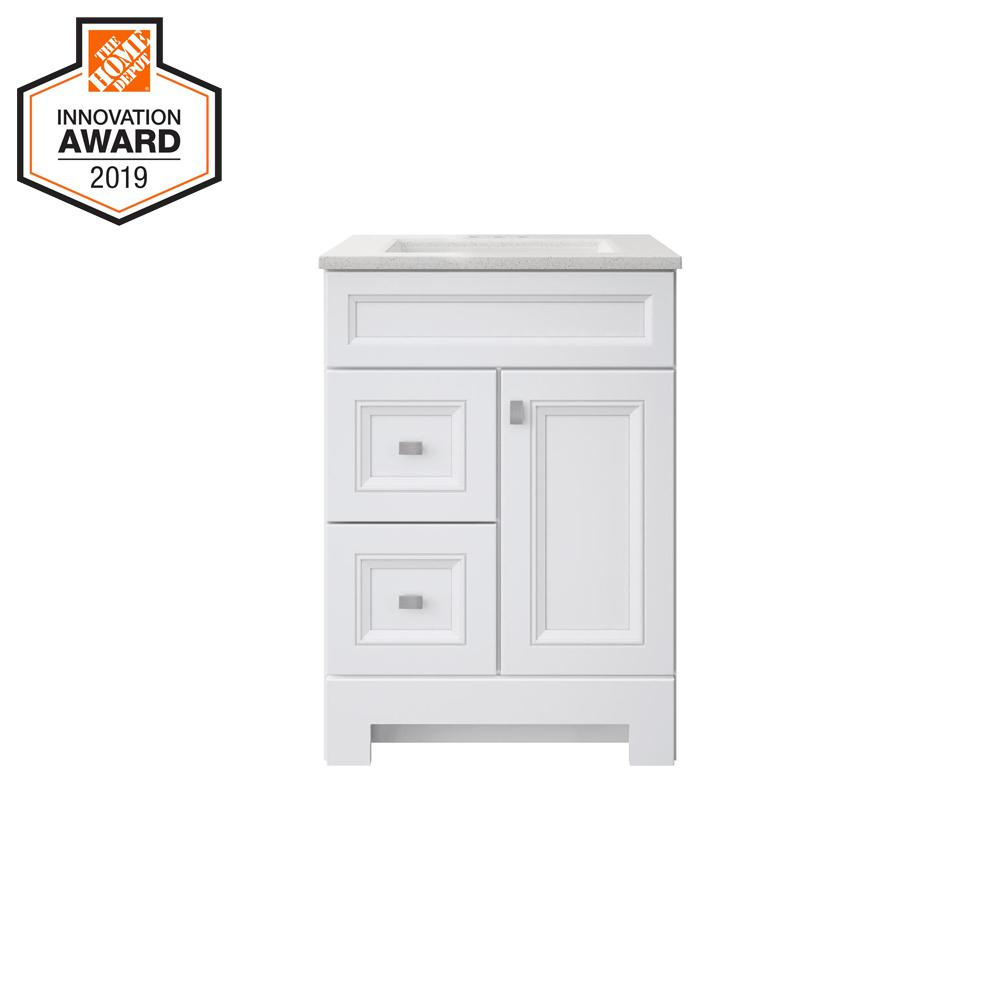 Sedgewood 24-1/2 in. W Bath Vanity in White with Solid Surface Technology Vanity Top in Arctic with White Sink