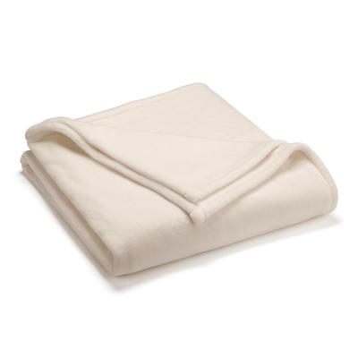 Sheared Mink Ivory Polyester Twin Blanket