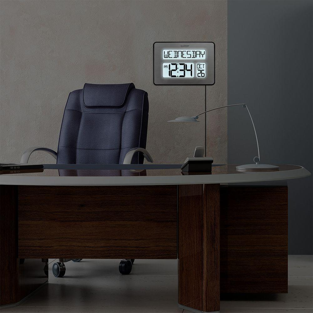 La Crosse Technology Backlight Atomic Full Calendar Digital Clock with Extra Large Digits