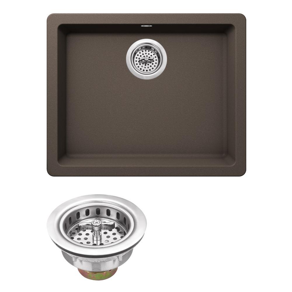 Drop-in Granite Composite 22 in. Kitchen Sink in Mocha Brown