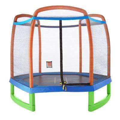 7 ft. Kids Trampoline with Enclosure and Tic-Tac-Toe