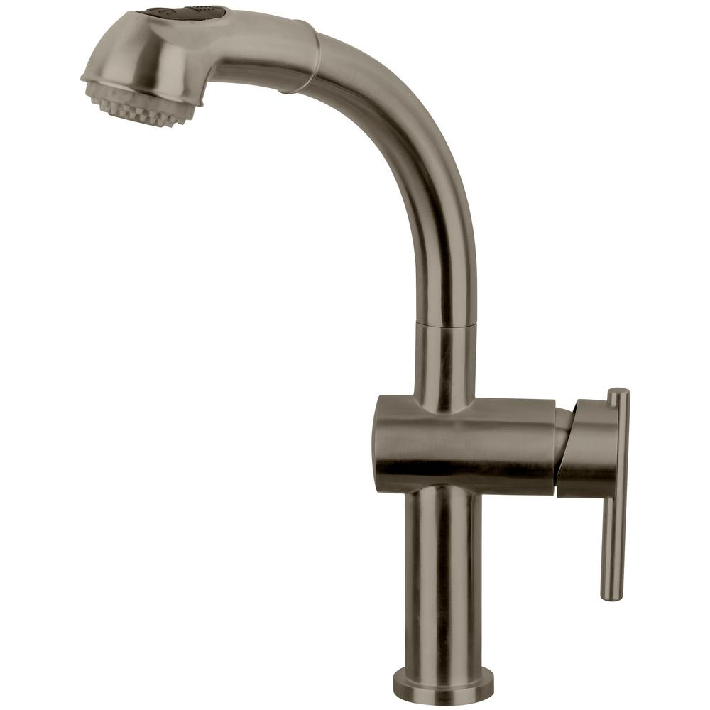 Whitehaus Collection Waterhaus Single Handle Pull Out Sprayer Kitchen Faucet  In Brushed Stainless Steel