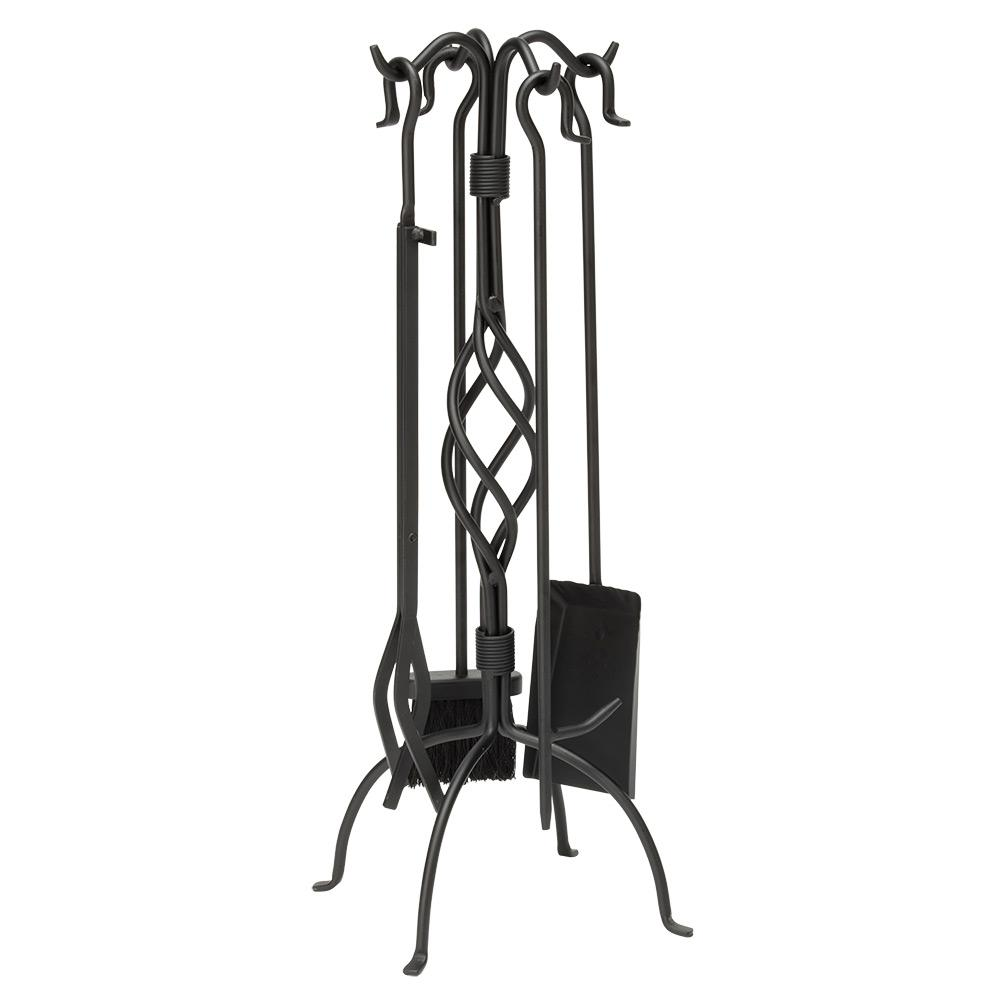 Black Wrought Iron 5-Piece Fireplace Tool Set with Center Weave