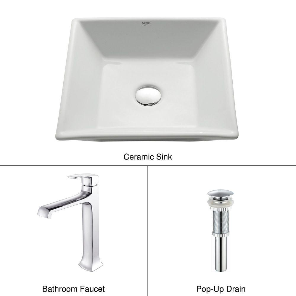 KRAUS Square Ceramic Sink in White with Decorum Faucet in Chrome