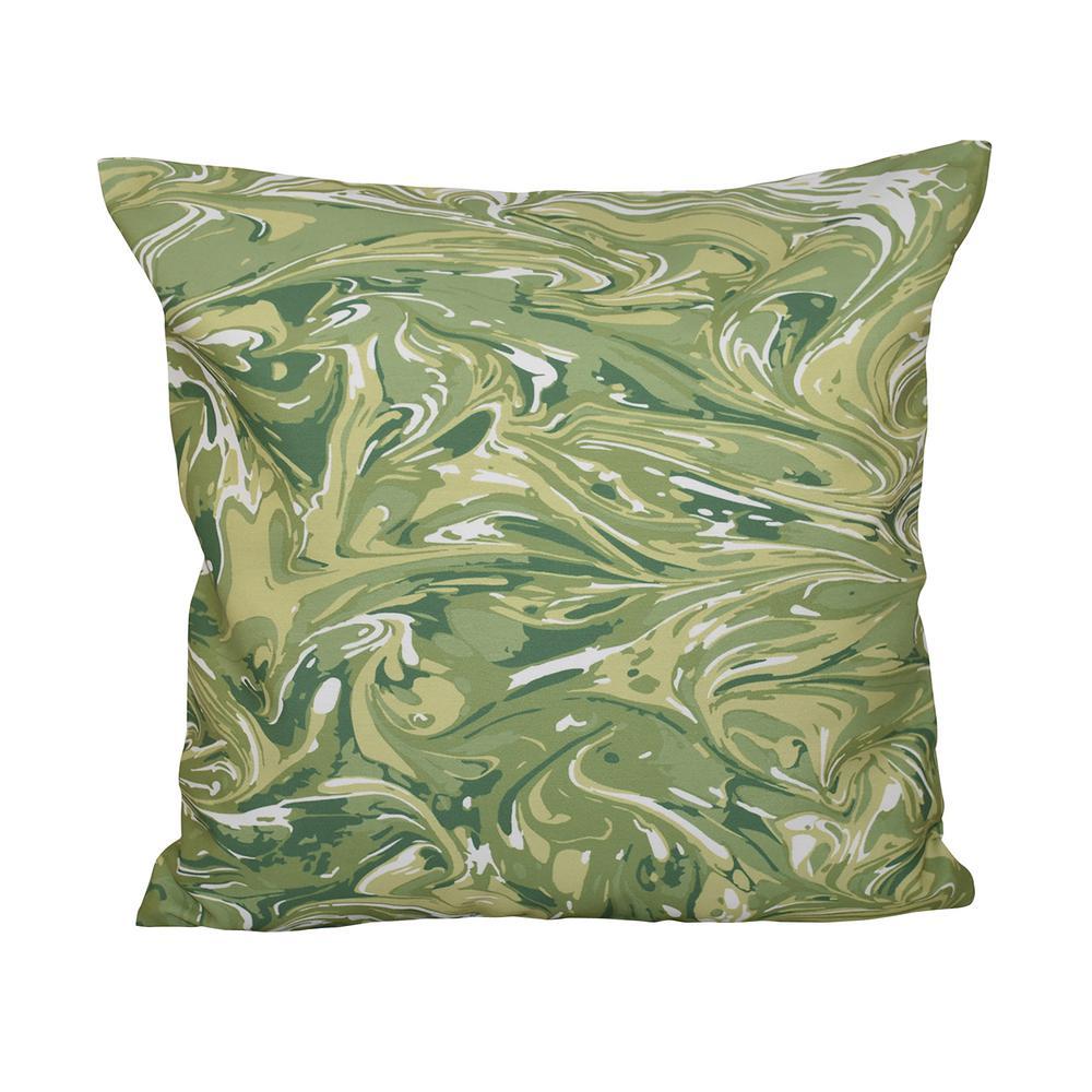 E by design Woven Tiki Geometric Print Pillow 16 x 16 Green