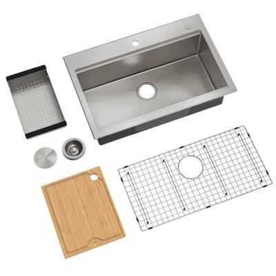 Kore Workstation Stainless Steel 32 in. Drop-In/Undermount Single Bowl Kitchen Sink with Accessories