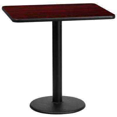 24 in. x 30 in. Rectangular Mahogany Laminate Table Top with 18 in. Round Table Height Base