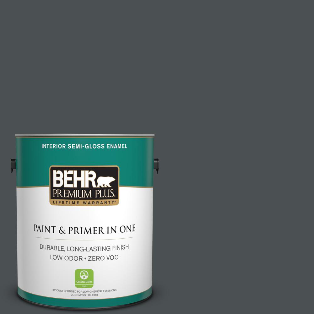 1 gal. #PPU26-01 Satin Black Zero VOC Semi-Gloss Enamel Interior Paint