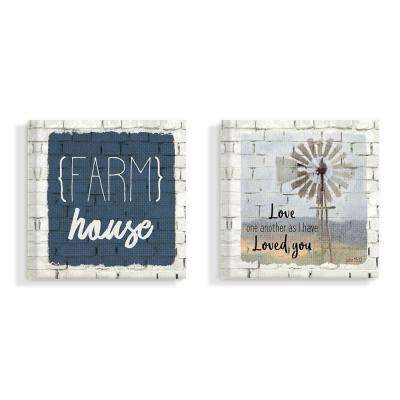 "17 in. x 17 in. ""Grateful Thankful Blessed Farm House White Brick Look"" by Kimberly Allen Canvas Wall Art (2-Piece)"