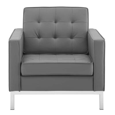 Loft Silver Gray Tufted Button Upholstered Faux Leather Armchair