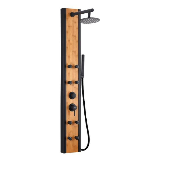 57 In. 8-Jet Multifunction Shower Panel System With Adjustable Rainfall Shower Head And Handheld Shower head