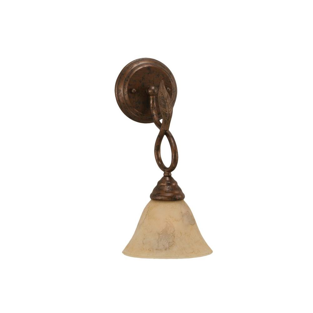 Concord 1-Light Bronze Wall Sconce with Italian Marble Glass