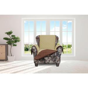 Jameson Sage and Chocolate Reversible Waterproof Microfiber Chair Cover with Elastic Buckle