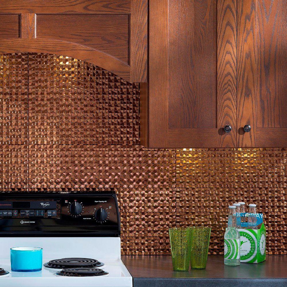 24 in. x 18 in. Terrain PVC Decorative Tile Backsplash in Antique Bronze