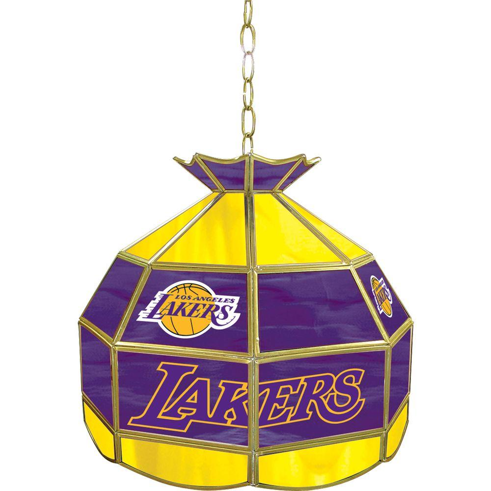 Trademark Los Angeles Lakers NBA 16 in. Nickel Hanging Tiffany Style Lamp