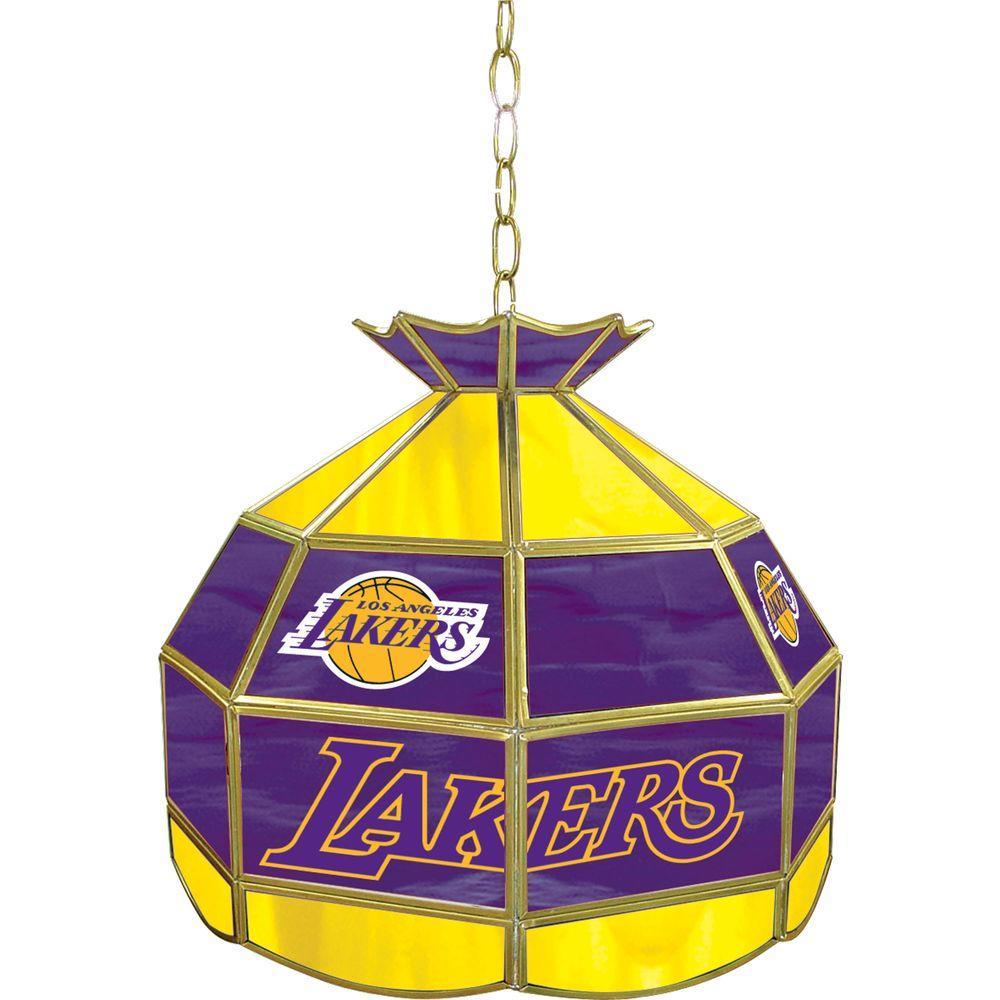 Los Angeles Lakers NBA 16 in. Nickel Hanging Tiffany Style Lamp