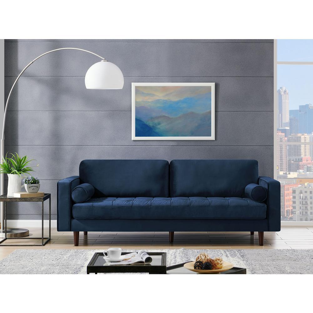 Astonishing Poly And Bark 72 In Inga Space Blue Apartment Velvet Sofa Uwap Interior Chair Design Uwaporg