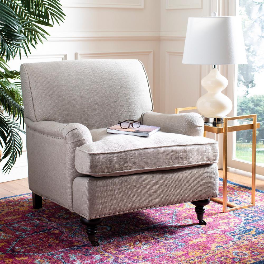 Chloe Antique Gold/Espresso Cotton Blend Club Arm Chair
