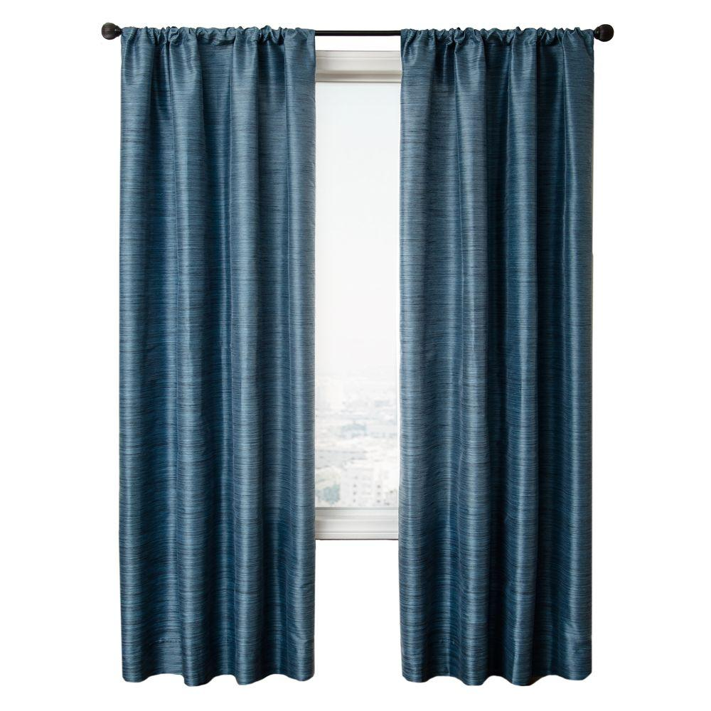 Home Decorators Collection Sheer Cobalt Borgata Rod Pocket Curtain - 54 in.W x 96 in. L