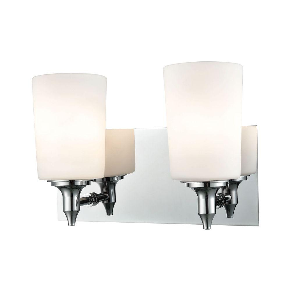 Titan Lighting Alton Road 2-Light Chrome and Opal Glass Vanity Light-TN-93088 - The Home Depot