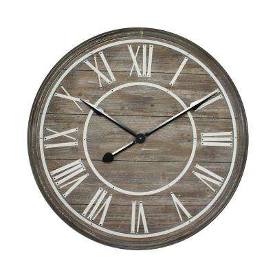 Rustic Age Distressed Brown Oversized Wall Clock