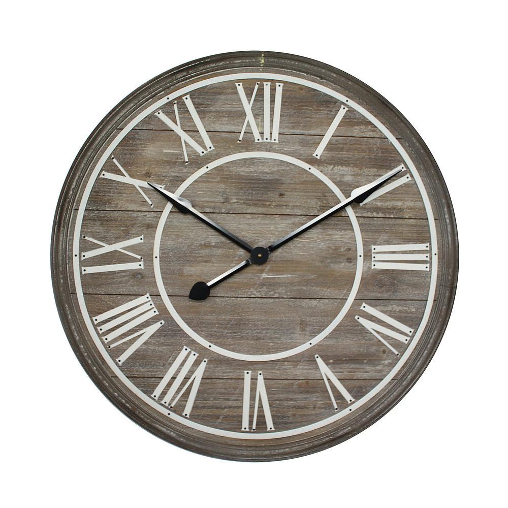 fece8cbd93c5 Rustic Age Distressed Brown Oversized Wall Clock