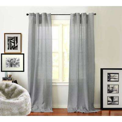 Sheer Linen Drape in Steel Grey - 50 in. x 96 in.