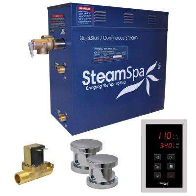 Oasis 10.5kW QuickStart Steam Bath Generator Package with Built-In Auto Drain in Polished Chrome
