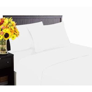 Hotel Collection 1800 6-Piece White Cotton/Polyester Queen Sheet Set by