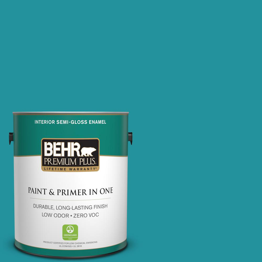 1-gal. #500B-6 Peacock Feather Zero VOC Semi-Gloss Enamel Interior Paint