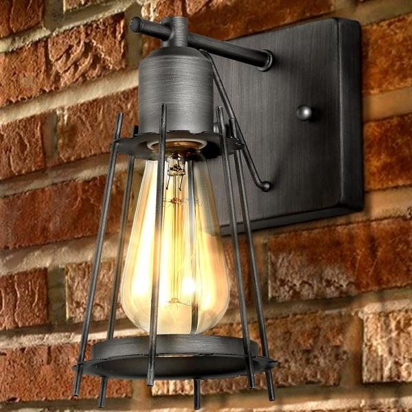 Coyote 1-Light Modern Brushed Silver Dark Gray Cage Wall Lantern Sconce