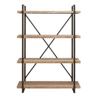 Distressed Wood Open Bookcase