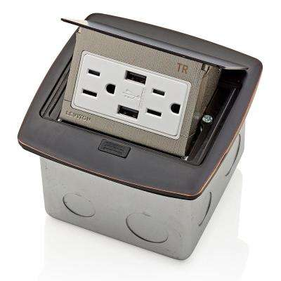 Pop-Up Floor Box with Dual Type A, 3.6 Amp USB Charger, 15 Amp Outlet, Bronze