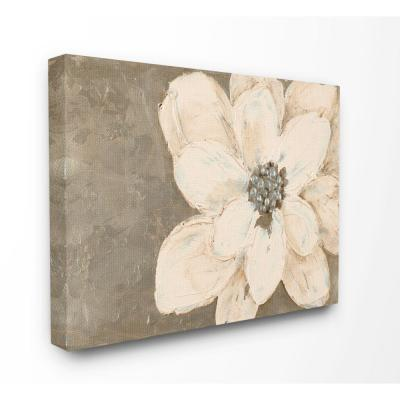 """36 in. x 48 in. """"Abstract Gold Silver Flower Collage Painting"""" by Lanie Loreth Canvas Wall Art"""