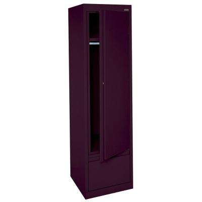 System Series 17 in. W x 64 in. H x 18 in. D Single Door Wardrobe Cabinet with File Drawer in Burgundy