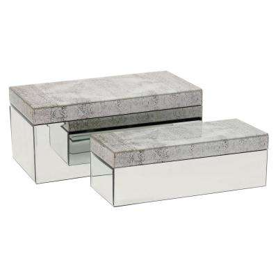 14 in. x 6.75 in. Glass Mirrored Boxes in Gray (Set of 2)