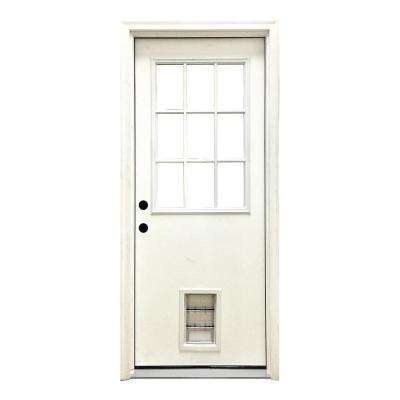 36 in. x 80 in. Classic Clear 9 Lite RHIS White Primed Fiberglass Prehung Front Door with Med Pet Door