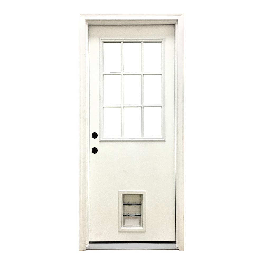 36 in. x 80 in. Classic Clear 9 Lite RHIS White Primed Fiberglass Prehung Front Door with Med Pet Door