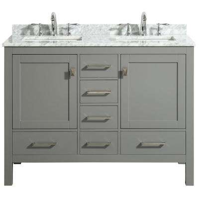 Aberdeen 48 in. Transitional Gray Bathroom Vanity with White Carrara Countertop and Double Sinks