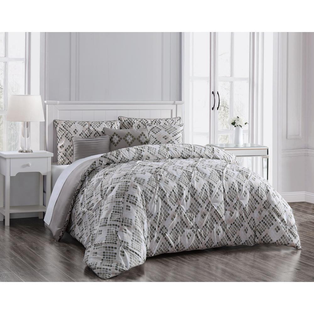 Germaine 6-Piece Pinch Pleat Taupe Queen Comforter Set