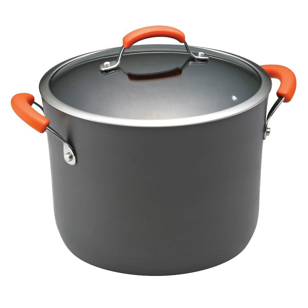 RachaelRay Rachael Ray 10 Qt. Steel Stock Pot, Orange and Gray
