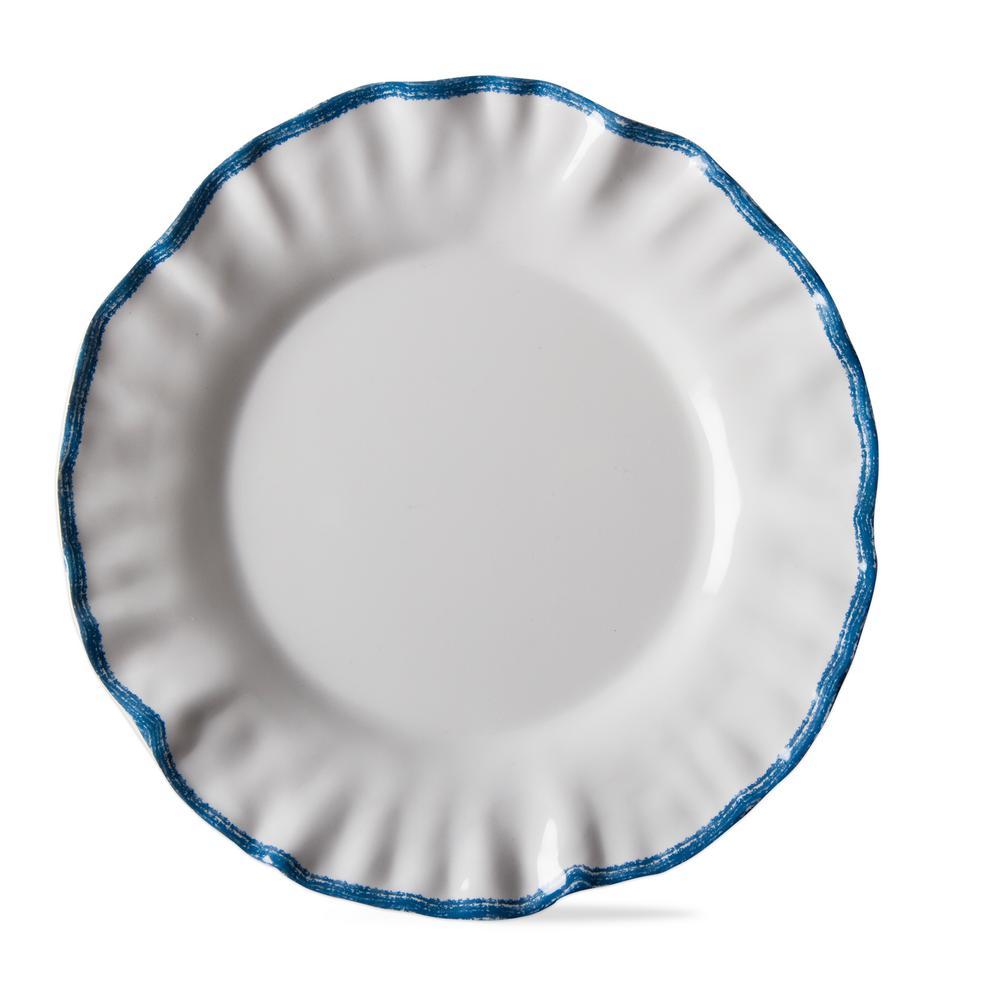 Ruffle Rim White Melamine Salad Plate (Set of 4)