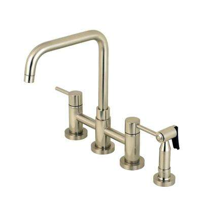 Modern 2-Handle Bridge Kitchen Faucet with Side Sprayer in Brushed Nickel