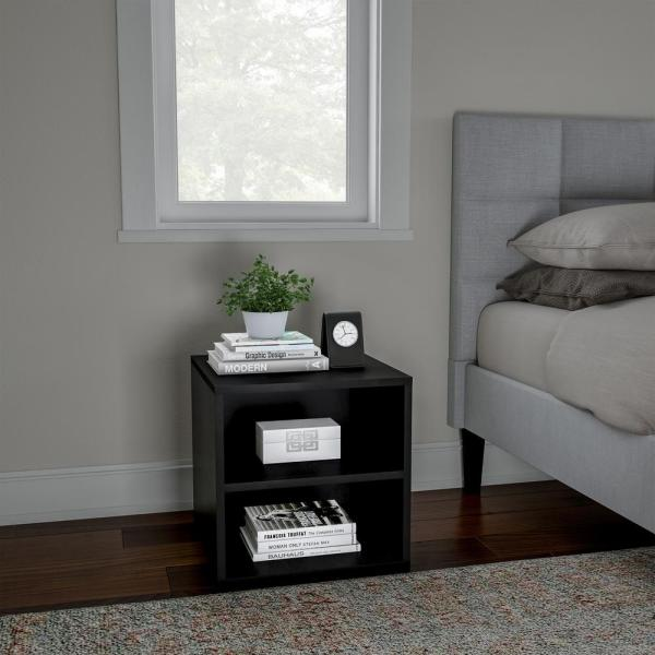 15 75 In Black 2 Shelf End Table 483594zgb The Home Depot
