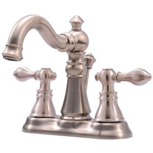 Signature Collection 4 in. Centerset 2-Handle Bathroom Faucet with Pop-Up Drain in Brushed Nickel