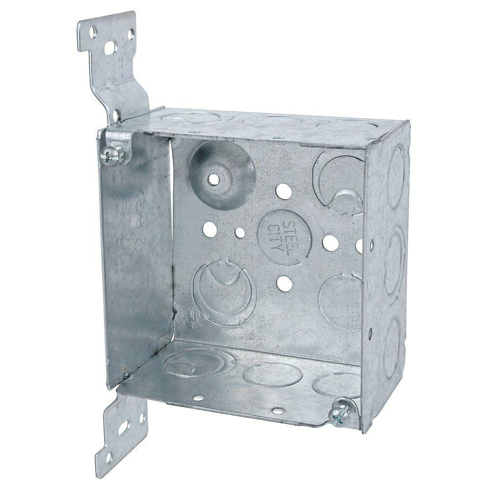 steel city 4 in  steel square outlet box with cv bracket  case of 25 -52171cvx-25r