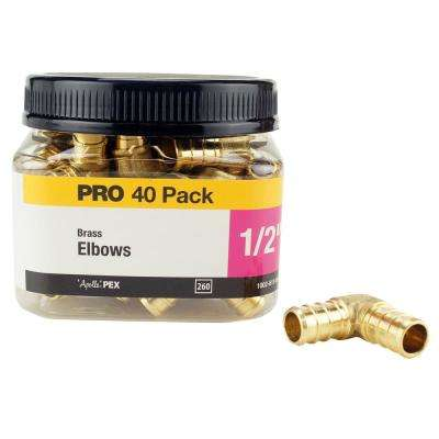 1/2 in. Brass PEX Barb 90 Elbow Jar (40 Pack)