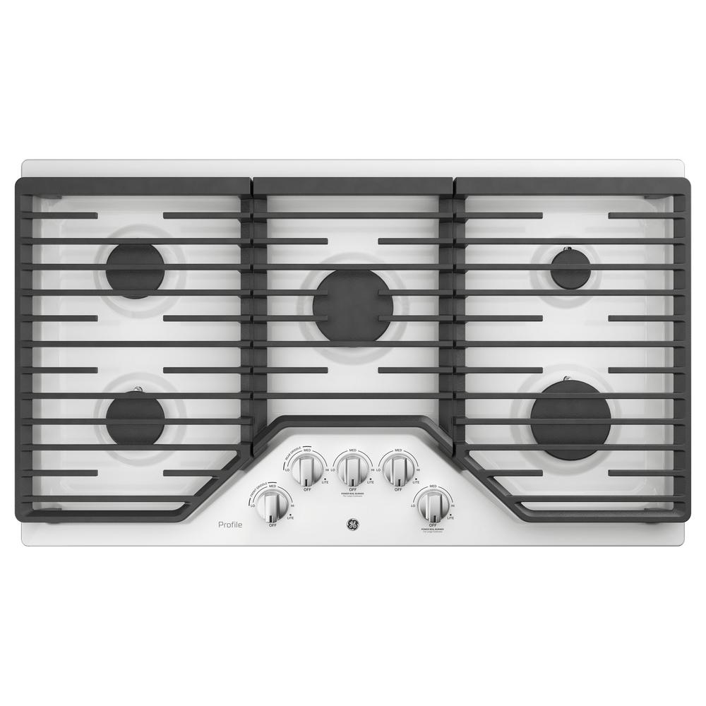 Ge Profile 36 In Gas Cooktop White With 5 Burners Rapid Boil