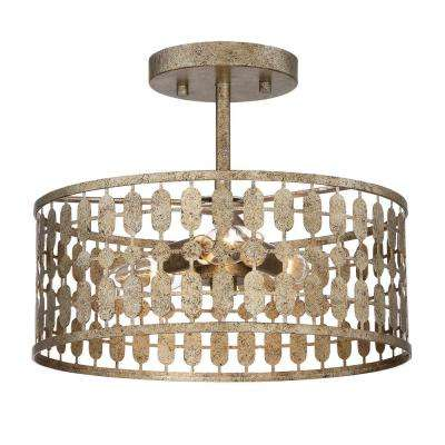 3-Light Antique Gold Semi-Flushmount