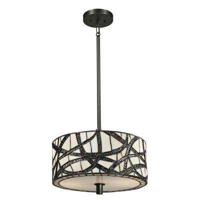Willow Cottage 2-Light Dark Bronze Hanging Pendant with Art Glass Shade